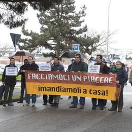 Protesta dei leghisti contro i profughi