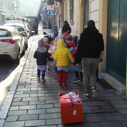 I bimbi dell'asilo di San Colombano donano il cibo ai più poveri