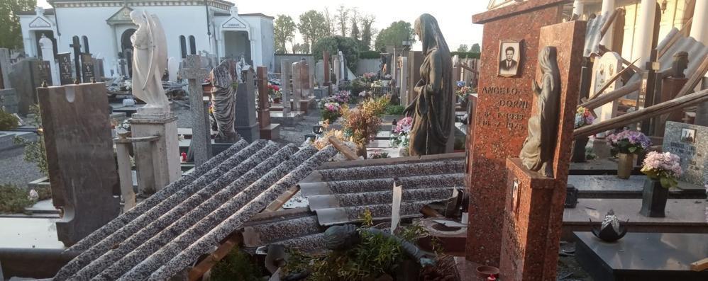 Tromba d'aria colpisce la Bassa, devastato il cimitero di Corno Giovine