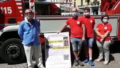 Pompieri in piazza a Melegnano