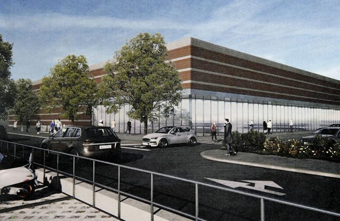 Un rendering del gigante di cemento che il Comune vuole autorizzare quasi di fronte alla stazione