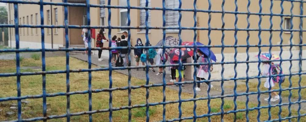 A Lodi Vecchio alla scuola elementare tutti in coda sotto l'acqua per misurare la temperatura