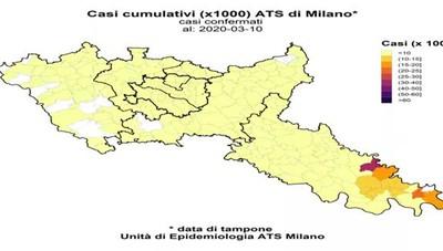 La mappa dei casi dell'Ats di Milano e Lodi