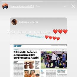 """Calcio, Francesco Acerbi ringrazia il fratello Federico intervistato dal """"Cittadino"""""""