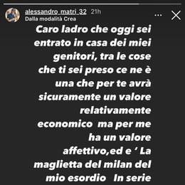 """""""Caro ladro ti scrivo"""", l'appello di Matri: «Ridammi la mia maglia d'esordio nel Milan»"""