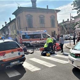 SAN COLOMBANO Scontro tra moto e bicicletta, arriva l'elisoccorso per una 75enne